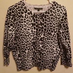 Express Leopard print cardigan pinup rockabilly L